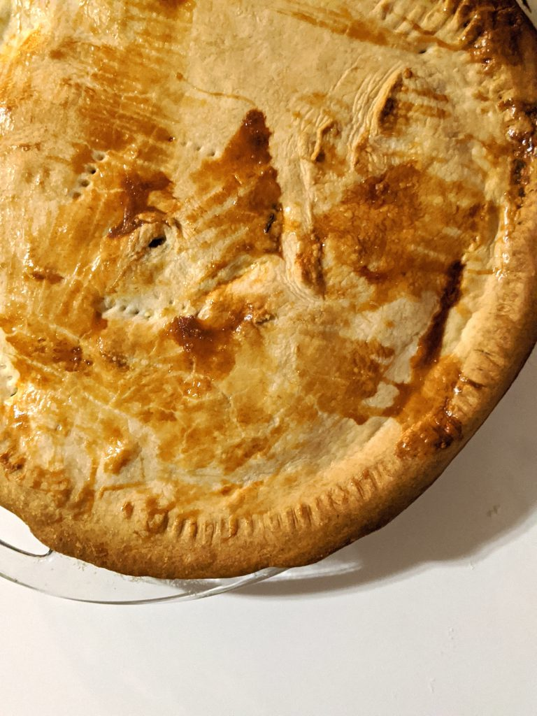 The Top of a baked chicken pot pie